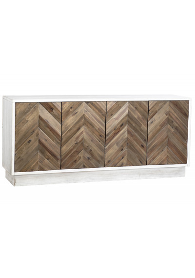 White Pine Wood Frame Recycled Fir Chevron Doors Sideboard Cabinet