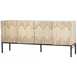 Reclaimed Grey Whitewashed Wood Staggered Design Sideboard Cabinet
