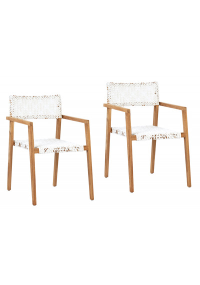White Synthetic Rattan Natural Teak Indoor Outdoor Dining Chair Set 2