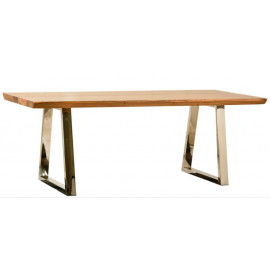 Light Wood Top Stainless Steel Base Dining Table