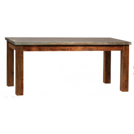 Metal Top Block Wood Leg Rectangle Dining Table