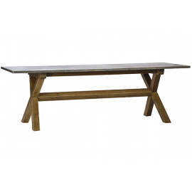 Metal Top Pine Cross Leg Long Dining Table