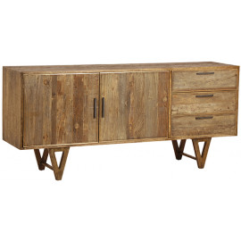 Rustic Eclectic Wood Triangle Iron Base Legs Sideboard Cabinet