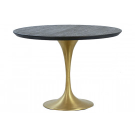 Gold Base Dark Wood Top Tulip Dining Table