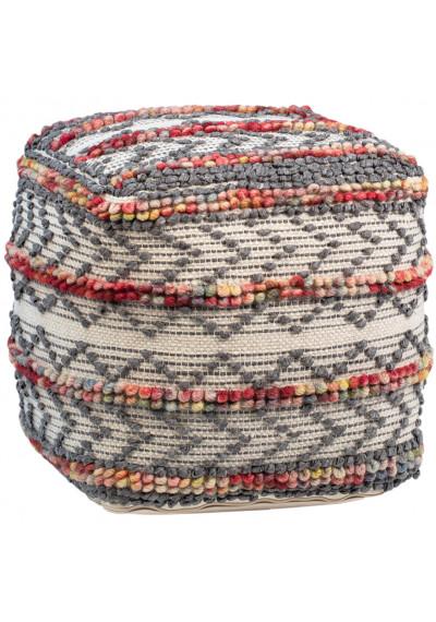 Tribal Design Multi Color Square Pouf