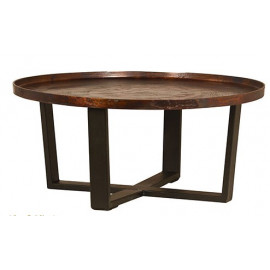 Round Rustic Iron Copper Top Coffee Table