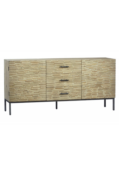 Whitewashed Wood Staggered Brick Sideboard Cabinet