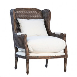 Antiqued Handwoven Cane Wicker Accent Chair