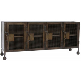 Industrial Locker Style Media Sideboard on Wheels