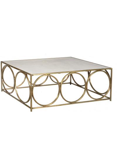 Iron Brass White Marble Coffee Table Recangle
