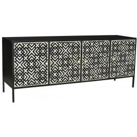 Black & White Bone Inlay Design Front Dark Iron Sideboard