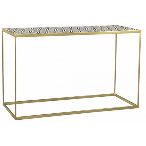 Black & Ivory Bone Inlay Top Brass Rectangle Base Console Table