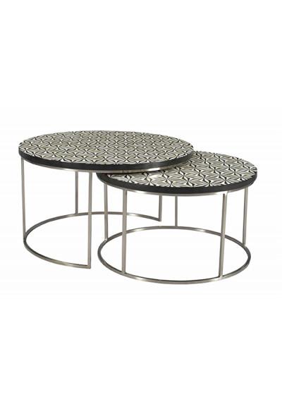 Black & Ivory Bone Inlay Top Nickel Round Base Nesting Coffee Table