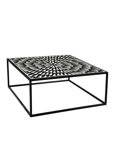 Black & White Bone Inlay Exploding Design Iron Base Coffee Table