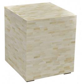 White Bone Inlay Geometric Design Square Cube Accent Table
