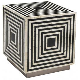 Black & White Bone Inlay Geometric Design Square Cube Accent Table