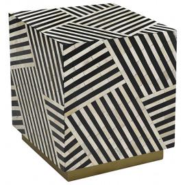 Black & White Bone Inlay Geometric Patch Design Square Cube Accent Table