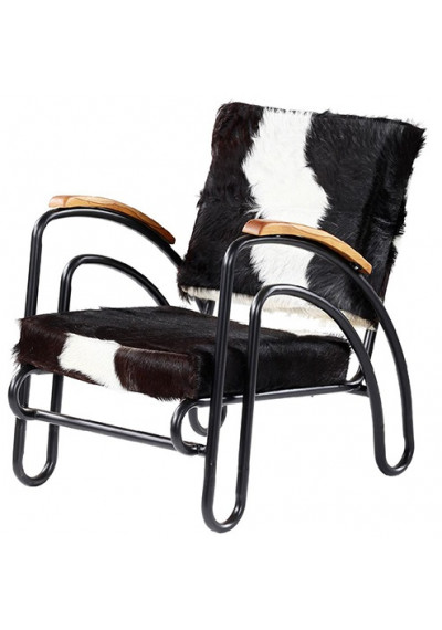 Eclectic Black & White Hair on Hide Black Metal Frame Lounge Chair