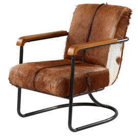 Eclectic Brown & White Hair on Hide Black Metal Frame Lounge Chair