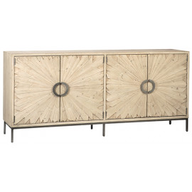 Reclaimed Pine Flower Door Silver Metal Base Sideboard Cabinet