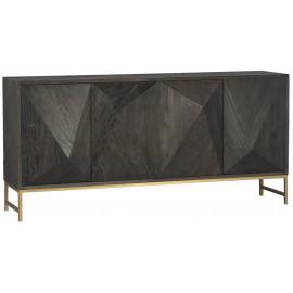 Dark Wood Geometric Block Design Buffet Sideboard