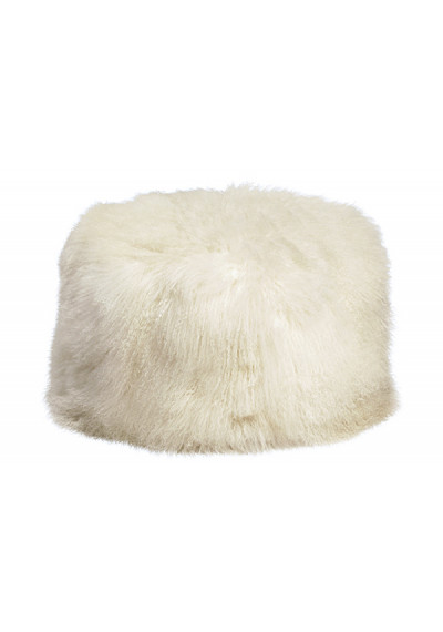 White Mohair Sheepskin Shaggy Square Pouf