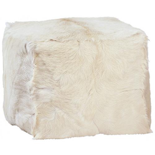 White Fur Square Pouf