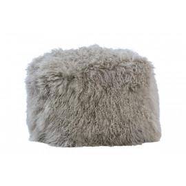 Grey Mohair Sheepskin Shaggy Square Pouf