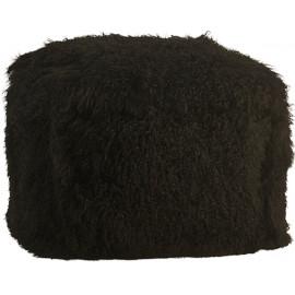 Black Mohair Sheepskin Shaggy Square Pouf