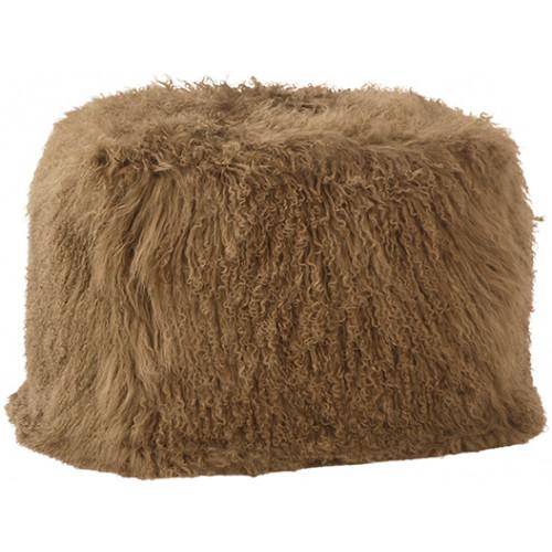 Light Brown Mohair Sheepskin Shaggy Square Pouf