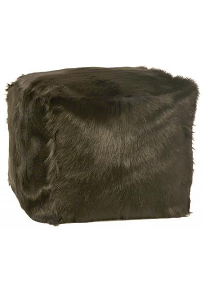 Black Fur Square Pouf