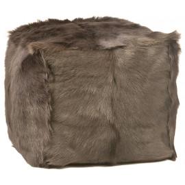 Brown Grey Fur Square Pouf