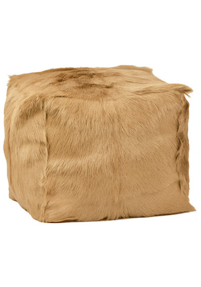 Tan Fur Square Pouf