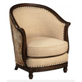 Hide & Dark Wood Barrel Chair