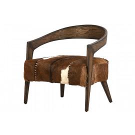 Hair on Hide & Wood Half Circle Unique Arm Chair