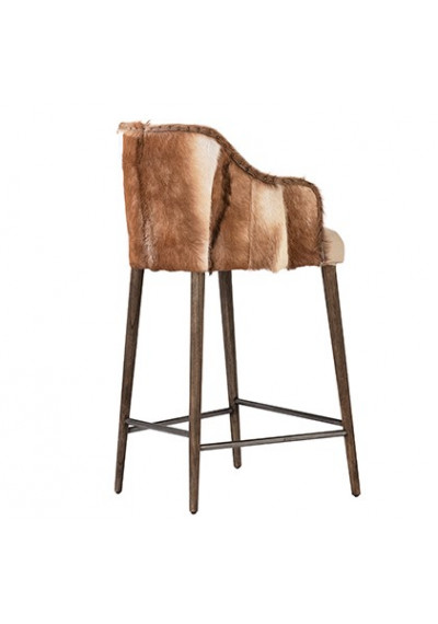 Hide Back Wood Frame Linen Channel Tufted Fabric Stool 2 Sizes