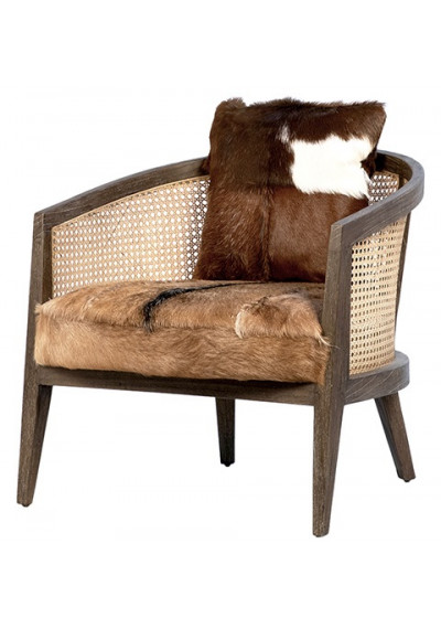 Dark Wood Rattan & Cow Hide Seat Accent Chair