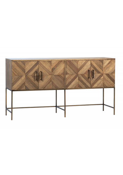 Reclaimed Wood & Metal Base Geometric Diamond Design Sideboard