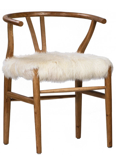 Fluffy Shaggy White Goat Skin & Natural Wood Chair