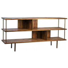 Reclaimed Teak & Iron Bookshelf Console Table