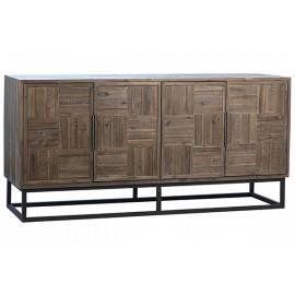 Natural Finish Acacia Wood Geometric Design Metal Base Sideboard