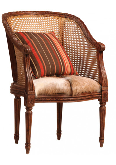 Hand Carved Wood Rattan & Hide Seat Accent Chair