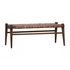 Full Grain Leather Weave & Rich Stained Teak Wood Bench
