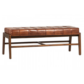 Full Grain Leather Square Tufted & Rich Stained Teak Wood Bench