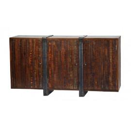 Industrial Wood & Iron Three Door Sideboard