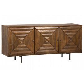 Warm Wood Triple Bullseye Design Cabinet Sideboard