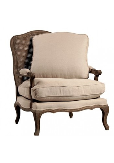 Cane Back Arm Chair Linen Upholstery