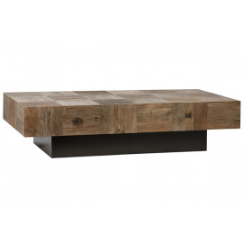Patchwork Elm Wood Rectangle Black Metal Base Coffee Table