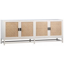Beachside Bungalow Ivory White Wood & Natural Rattan Sideboard