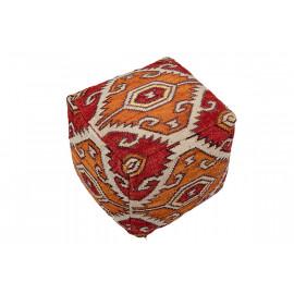 Southwestern Design Print Square Pouf Orange Red Cream Chocolate